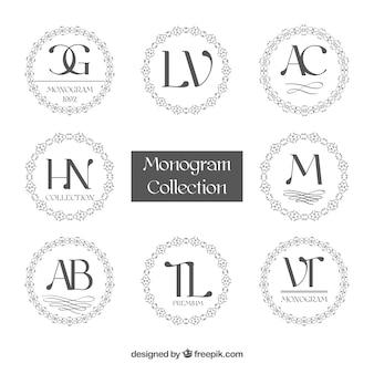 Sammlung von kreisförmigen Monogrammen