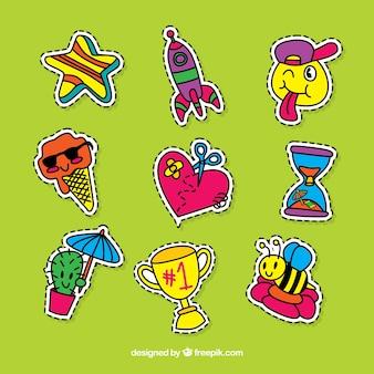 Sammlung von lustigen Hand gezeichneten Aufklebern
