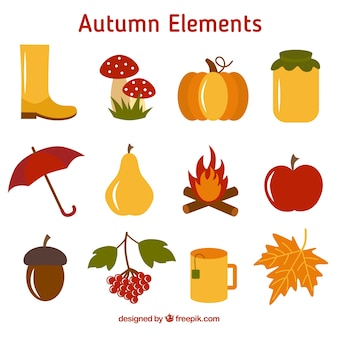 Sammlung von Obst und herbstlichen Element