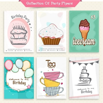 Sammlung von Party-Einladungen
