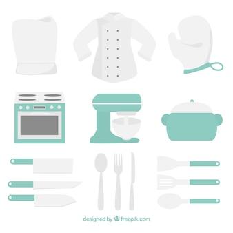 Sammlung von pastellfarbenen Küchenelementen
