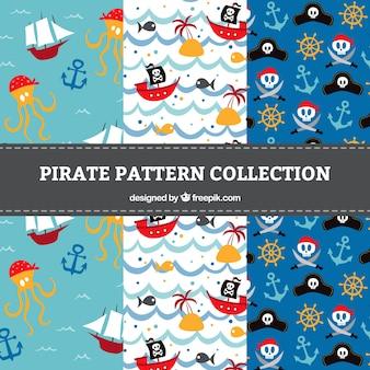 Sammlung von Piratenmustern mit Elementen