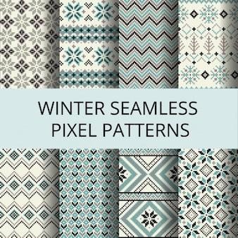 Sammlung von Pixel Retro nahtlose Muster mit Winter Nordic Ornament