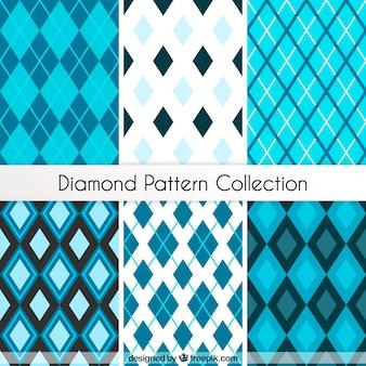 Sammlung von Rautenmuster in blauen Tönen