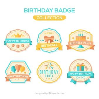 Sammlung von Retro-Geburtstags-Abzeichen