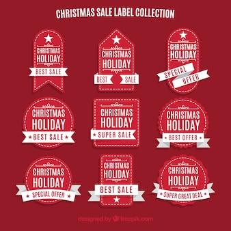 Sammlung von roten Vintage-Aufkleber von Weihnachten Umsatz