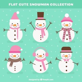 Sammlung von Schneemänner mit rosa Accessoires
