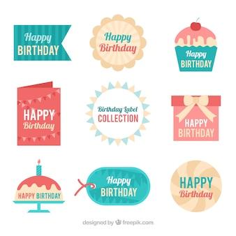 Sammlung von schönen Geburtstag Aufkleber