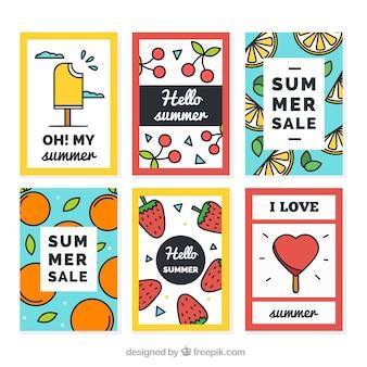 Sammlung von Spaßverkaufsbroschüren und Sommerkarten