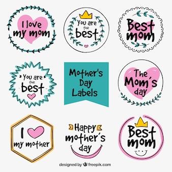 Sammlung von Tag Aufkleber Mutter