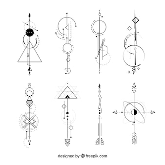 Sammlung von Tattoos mit abstrakten Formen