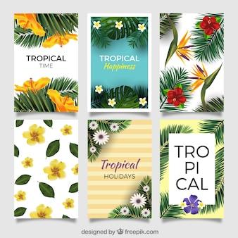 Sammlung von tropischen Blumen Einladungen