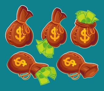 Sammlung von Vektor-Cartoon-Taschen mit Banknoten