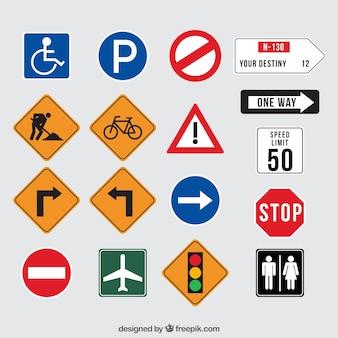 Sammlung von Verkehrszeichen