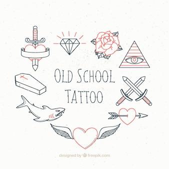 Sammlung von Vintage Skizzen Tattoo