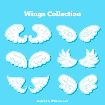 Sammlung von weißen Flügeln in flachem Design