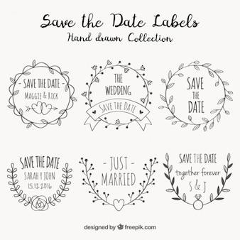 Sammlung von Zier-Hochzeit Aufkleber