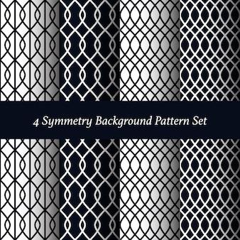 Satz von 4 Symmetrie Muster Hintergrund