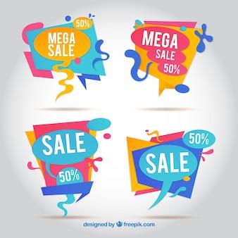 Satz von abstrakten Verkauf Aufkleber