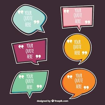Satz von Dialogbubbles für Zitat