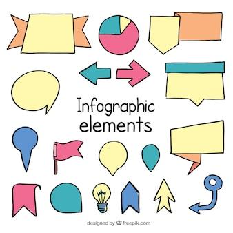 Satz von handgezeichneten infografischen Elementen