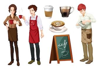 Satz von menschen arbeiten in cafe illustration