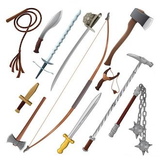 Satz von verschiedenen Waffen Vektor isolierte Objekte