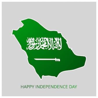 Saudi-Arabien Landkarte mit Happy Independence Day Landkarte