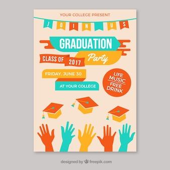 Schablone der Graduierung Party Broschüre mit farbigen Elementen