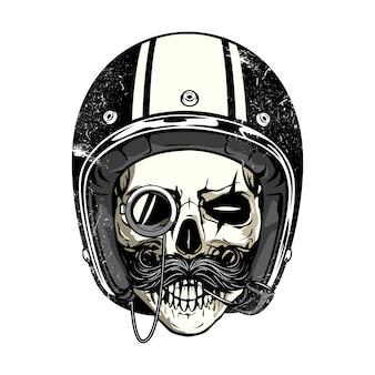 Schädel mit Helm und Schnurrbart