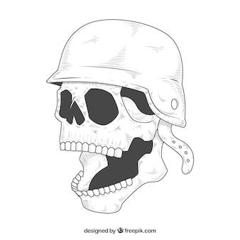 Schädel-Skizze mit offenem Mund und Helm