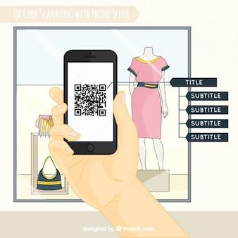 Schaufenster und mobile Hintergrund Scannen von QR-Code