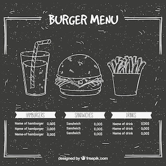 Schiefer mit Hamburger-Menü