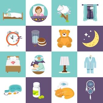 Schlaf-Zeit-Icons flach-Set mit Bett Wecker-Maske isoliert Vektor-Illustration.