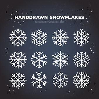 Schneeflocken Kollektion in Hand gezeichnet Stil