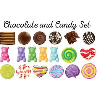 Schokolade und Süßigkeiten Set