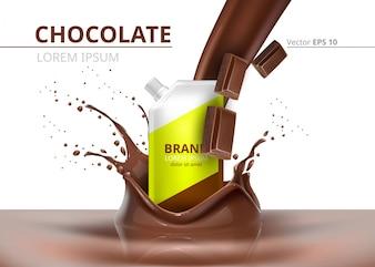 Schokoladen-Paket mock-up Vektor realistisch auf Splash Hintergrund