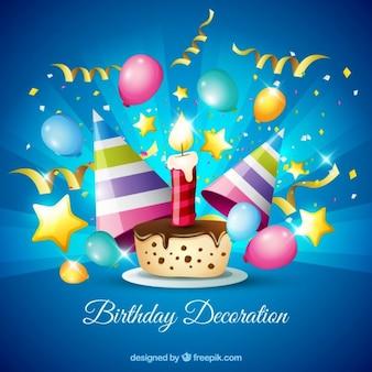Schokoladenkuchen mit Geburtstagsdekoration