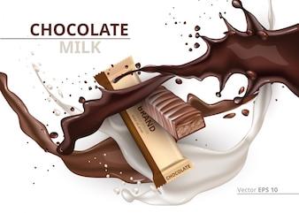 Schokoriegel Karamell realistisch Mock-up Vektor-Label-Design. Splash und Schokolade Tropfen Hintergrund