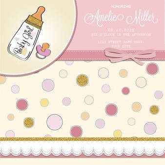 Schöne Baby-Dusche-Karte Vorlage mit golden glitzernden Details