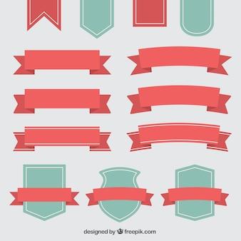 Schöne dekorative Vintage-Bänder und Abzeichen