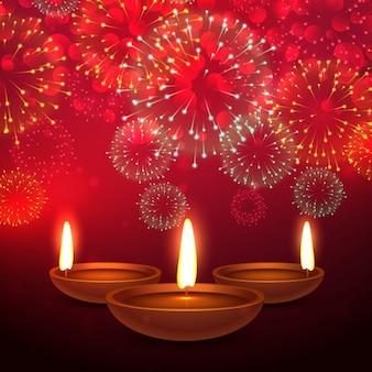 Schöne Diwali Festival Hintergrund mit Feuerwerk und Diya Platz auf rotem Hintergrund