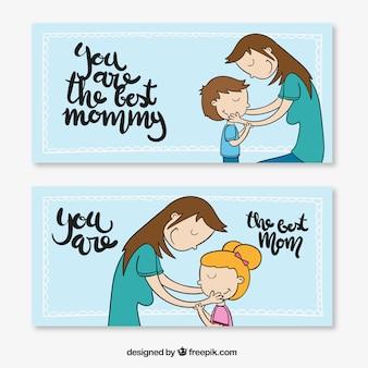 Schöne Hand gezeichnete Mutter Tag Banner