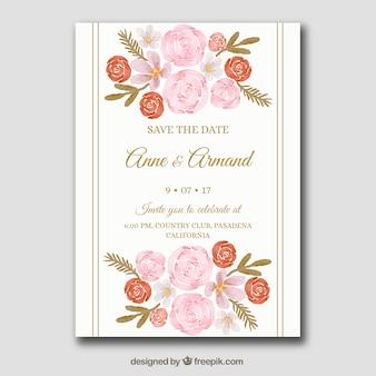 Schöne Hochzeitseinladung mit Blumen im Aquarellart