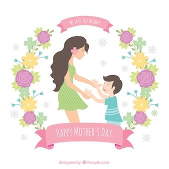 Schöne Mutter Hintergrund mit ihrem Sohn