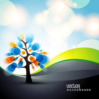 Schöne stilvolle Vektor Baum Design Kunst