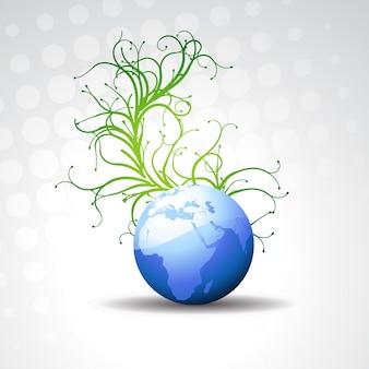 Schöne Vektor Erde mit flourish Hintergrund
