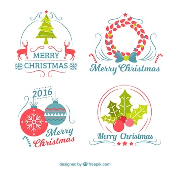 Schöne Weihnachtsabzeichen im Retro-Stil