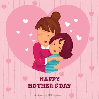 Schöner Hintergrund der Mutter umarmt ihre Tochter