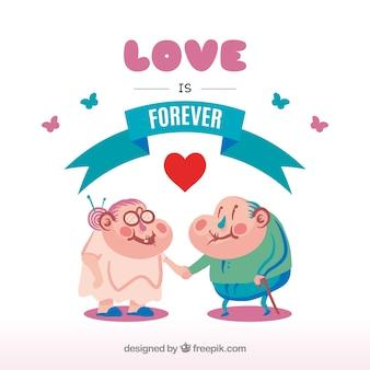 Schöner Hintergrund von älteren in der Liebe
